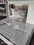 Комплект постельного белья сатин с вышивкой и кружевом Тм Pupilla евро размер Swan cappuccino, фото 3