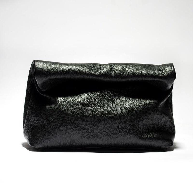 Сумка жіноча з натуральної шкіри. Шкіряний клатч lunchbag (чорний)