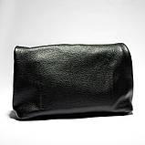 Сумка жіноча з натуральної шкіри. Шкіряний клатч lunchbag (чорний), фото 3