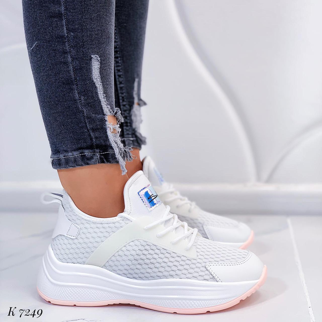 ТОЛЬКО 37, 39 р! Женские кроссовки белые текстиль+ эко кожа  на платформе
