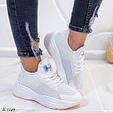 ТОЛЬКО 37, 39 р! Женские кроссовки белые текстиль+ эко кожа  на платформе, фото 3