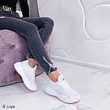 ТОЛЬКО 37, 39 р! Женские кроссовки белые текстиль+ эко кожа  на платформе, фото 5
