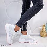 ТОЛЬКО 37, 39 р! Женские кроссовки белые текстиль+ эко кожа  на платформе, фото 6