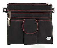 Мужская стильная черная наплечная сумка с натуральной кожи с красными вставками SWAN  art. отделение для телеф, фото 1