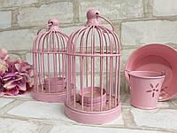 Металлический подсвечник в розовом цвете h-16 см, 150/120 (цена за 1 шт. + 30 гр.), фото 1