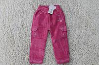Утепленные вельветовые брюки на флисе 1лет. цвет:сиреневый,фиолетовый,розовый