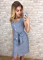 Плаття на гудзиках в смужку,пояс Блакитний 2, фото 1