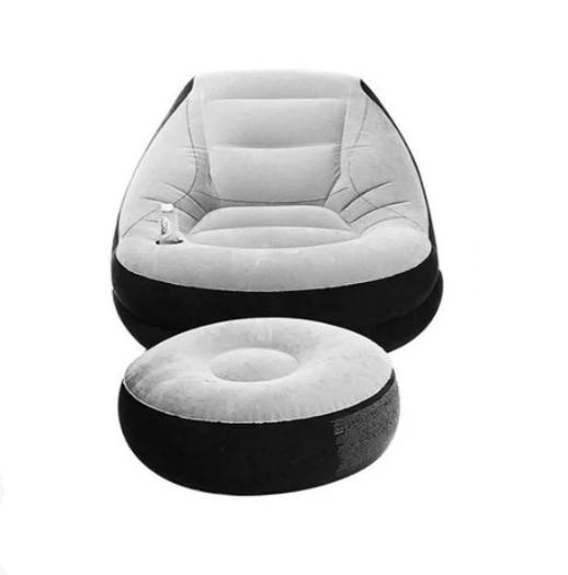 Надувной диван Air Sofa | Надувное велюровое кресло с пуфиком