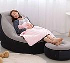 Надувной диван Air Sofa | Надувное велюровое кресло с пуфиком, фото 4
