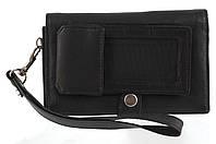 Мужская стильная черная сумка-барсетка с отделением для мобильного телефона с натуральной кожи SWAN  art. черн, фото 1