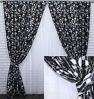 Шторная ткань блэкаут. Цвет серый/черный