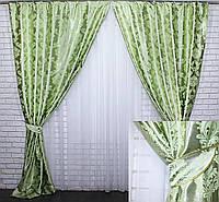 Шторная ткань блэкаут. Цвет салатовый