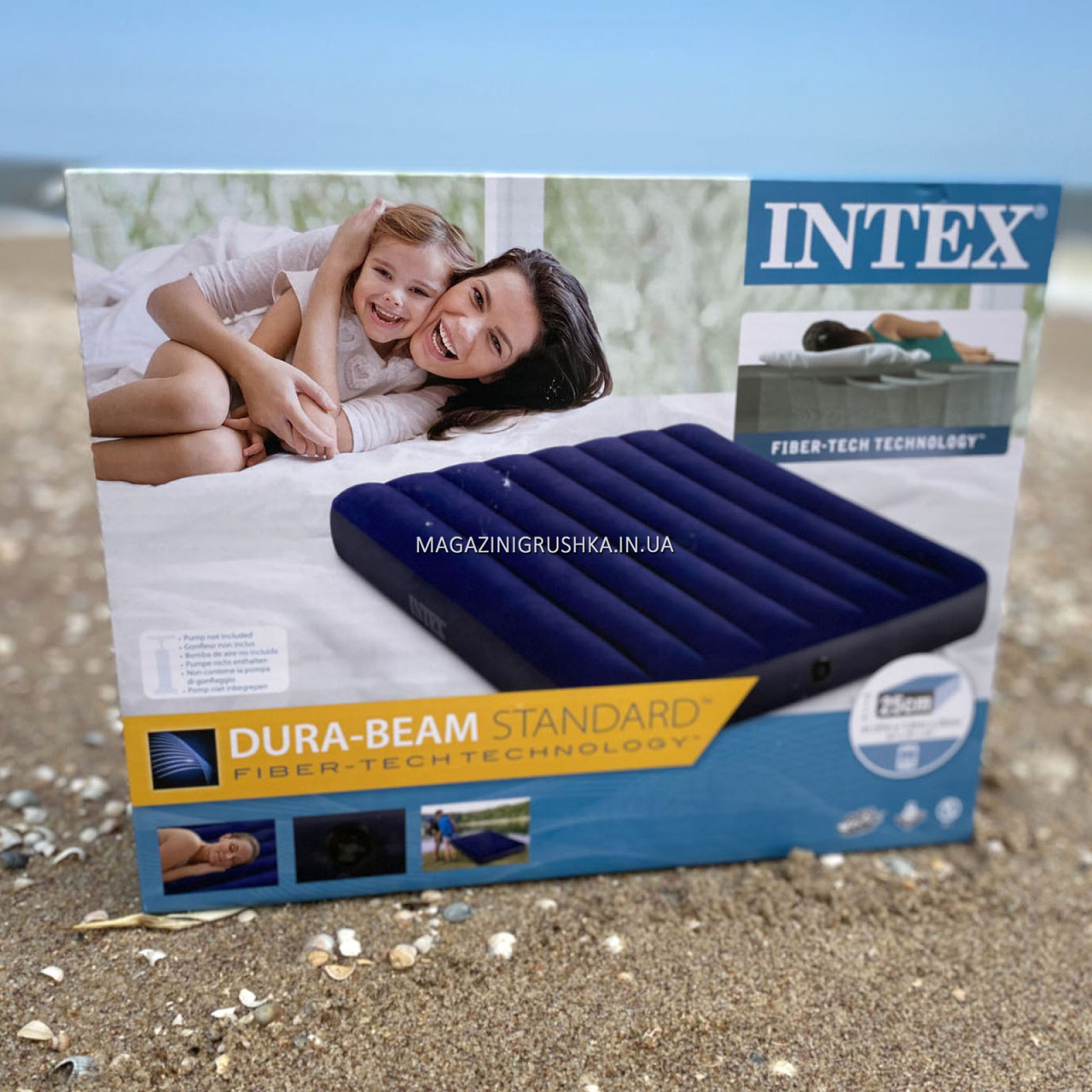 Матрас Intex надувной полуторный велюровый, кровать 137х191х25 см (64758)