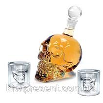 Подарочный набор Графин в форме черепа 0,75 л и 2 стакана Череп, фото 3