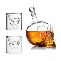 Подарочный набор Графин в форме черепа 0,75 л и 2 стакана Череп