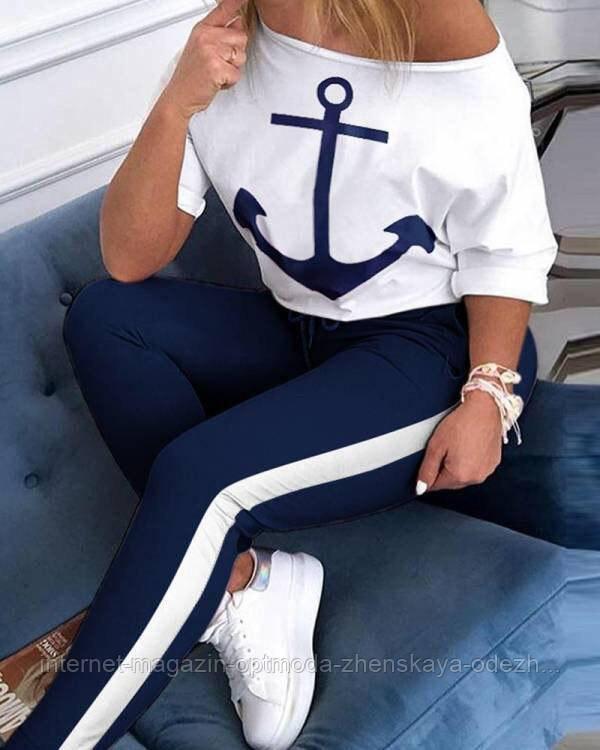 Женский летний костюм с якорем на груди, двухнитка, размер S, M, L, XL, белый, темно-синий, сирень