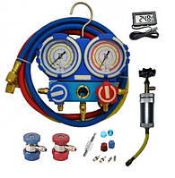 Коллектор для фреона R-134а с муфтами, инжектором, термометром и ремкомплектом