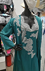 Комплек нічний жіночий N 4. Халат натільний жіночий + сорочка нічна, морська хвиля, ТМ Komilfo, Україна