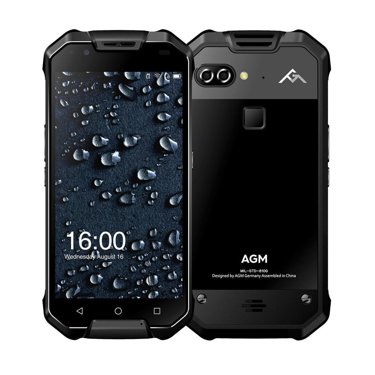 Смартфон ударопрочный черный с большим дисплеем и аккумулятором 6000 мАч AGM X2 Black Glass 6/64 гб NFC