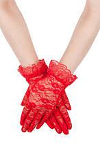 Красные кружевные перчатки А-1131