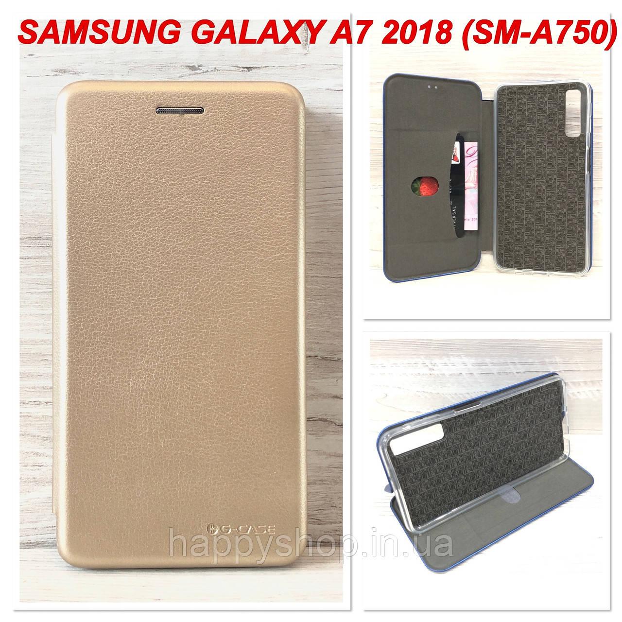 Чехол-книжка G-Case для Samsung Galaxy A7 2018 (A750) Золотистый
