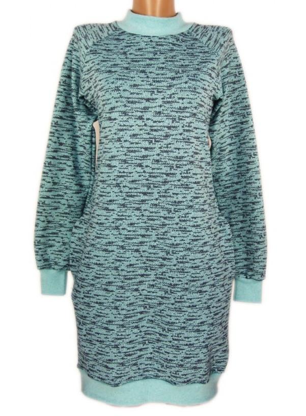Теплое платье с начесом женское фасон туника, зеленое