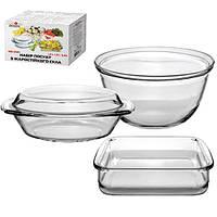 Набор посуды из термостекла  3 предмета в наборе (кастрюля, протвинь, миска) 1.5/1.8/5.0л STN MS-0141