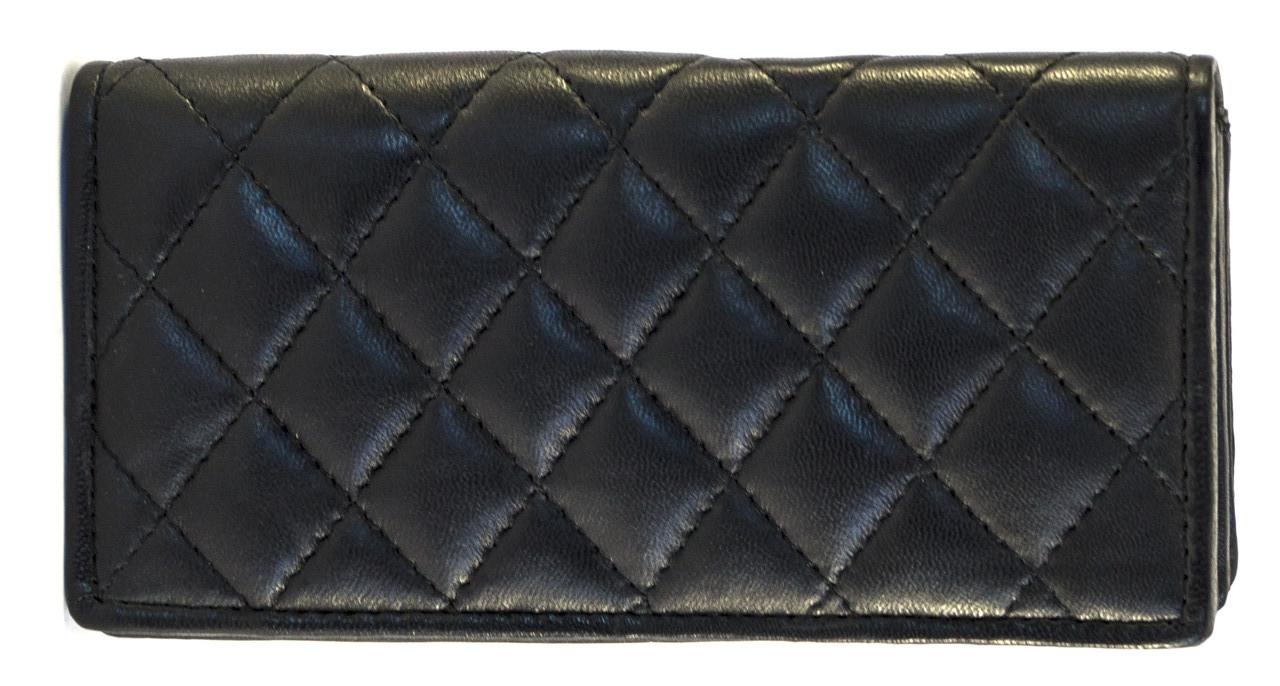 Кожаный, надежный и удобный женский кошелек SWAN art. Б/Н черный стеганый