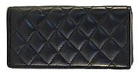 Кожаный, надежный и удобный женский кошелек SWAN art. Б/Н черный стеганый, фото 1