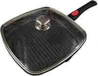 Сковорода-гриль с крышкой + съемной софт-тач ручкой. Мраморное покрытие. Benson BN-314