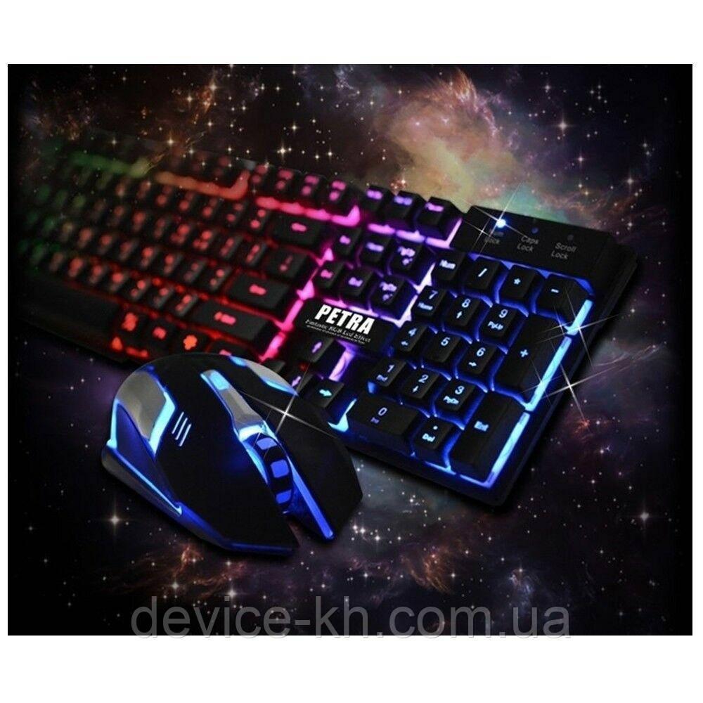 Игровой Набор Клавиатура + мышка  С Подсветкой Gaming PETRA MK-1