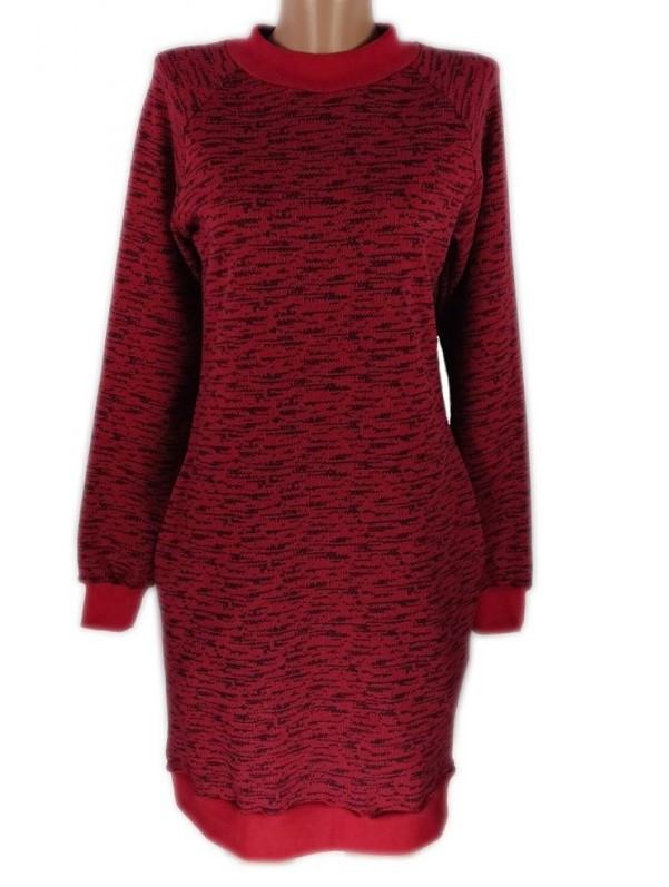 Теплое платье туника с начесом женское, красное