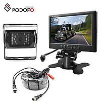 """Камера IR15m. 12-32v IP67 с монитором 7"""" Podofo заднего вида для грузовиков 15м провод"""