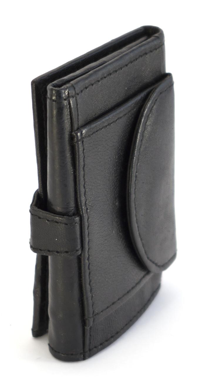 Кожаный компактный мужской кошелек тройного сложения SWAN art. 0091-11-23586732 черного цвета