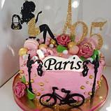 Топпери Франція, Топпер дівчина з ейфелевою вежею, ейфелева вежа на торт, топпер велосипед,Топпер Paris, фото 6