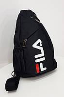 Мужская нагрудная сумка FL тканевая черная 1814