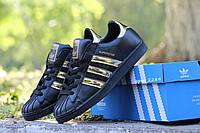 Кроссовки Adidas Superstar, черные в золоте, 36р. по стельке 23,3см