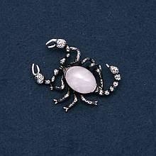 Брошь кулон Скорпион с натуральным камнем Розовый кварц 52х36мм