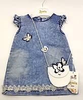 Детский сарафан платье Турция 2, 3 года для девочки джинсовый летний синее (ПЛД32), фото 1