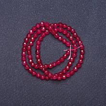 Бусины натуральный камень Турмалин темно розовый граненный шарик на нитке L- 37см d-4мм