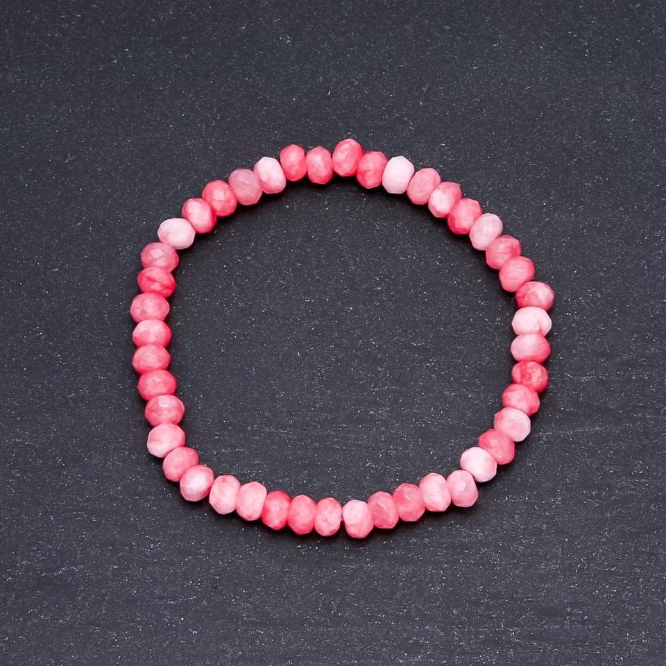"""Браслет """"Турмалин"""" (имит.) бело розовый """"ситцевый"""" d-6х4мм на резинке"""