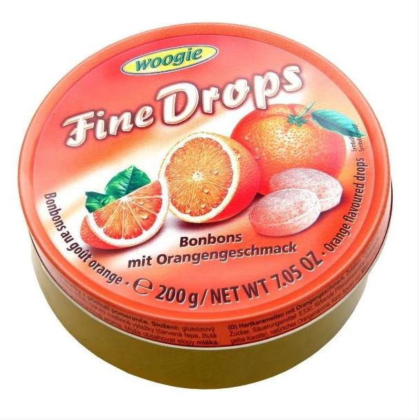 Льодяники  Woogie, FINE DROPS, з апельсиновим смаком, 200г