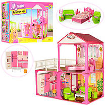 ДомБольшой двухэтажный для кукол типа барби,6982