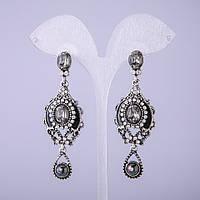 Серьги в восточном стиле с серыми кристаллами L-65мм