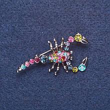 """Брошь """"Скорпион"""" розовые и бирюзовые стразы цвет металла серебро 4,5х2см"""