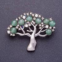 """Брошь """"Нефритовое дерево"""" 5х4см цвет металла серебро"""
