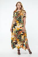 Женское летнее яркое длинное платье - трапеция из штапеля большого размера Р- 50, 52, 54, 56