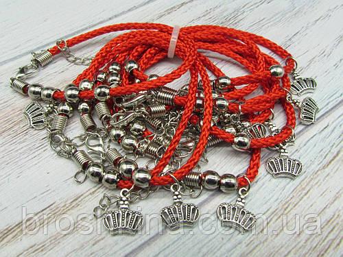 Браслет красная нить с подвеской Корона 10 шт.