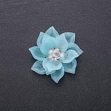 Фурнитура нашивка Цветок Лотоса голубой акрил d-40мм