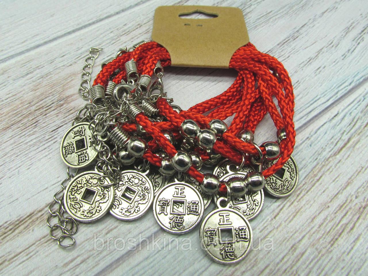Браслет красная нить с подвеской Монета 10 шт.